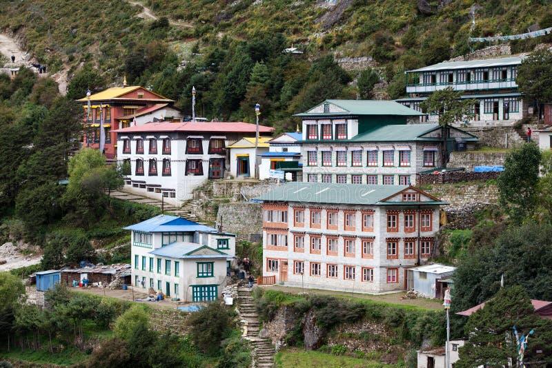 Namche市场- Khumbu谷的,尼泊尔最大的村庄 免版税库存图片