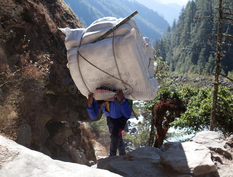 Nepalese porter carrying a heavy load, Nepal Himalayas. NAMCHE BAZAAR, NEPAL - JANUARY 17, 2017: Nepalese porter carrying a heavy load to the pass in Sagarmatha royalty free stock photos