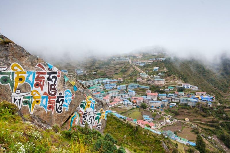 Namche Bazar - duża wioska w Khumbu dolinie, Nepal zdjęcie royalty free