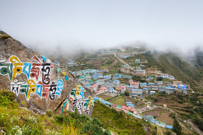 Namche Bazar - grootste dorp in Khumbu-vallei, Nepal royalty-vrije stock foto