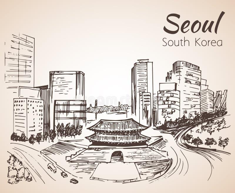Namdaemun, a arquitetura da cidade de Sungnyemun - de Seoul, mão tirada K sul ilustração stock