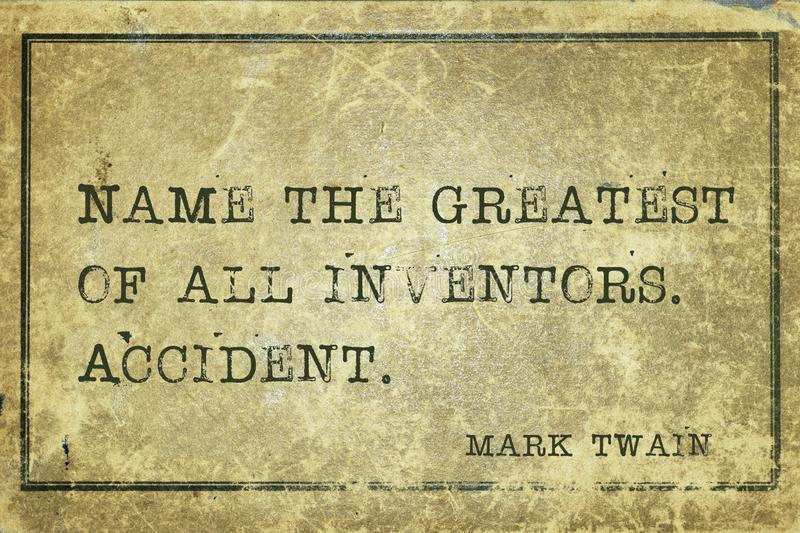 Name accident MTwain. Name the greatest of all inventors - famous American writer Mark Twain quote printed on grunge vintage cardboard stock illustration