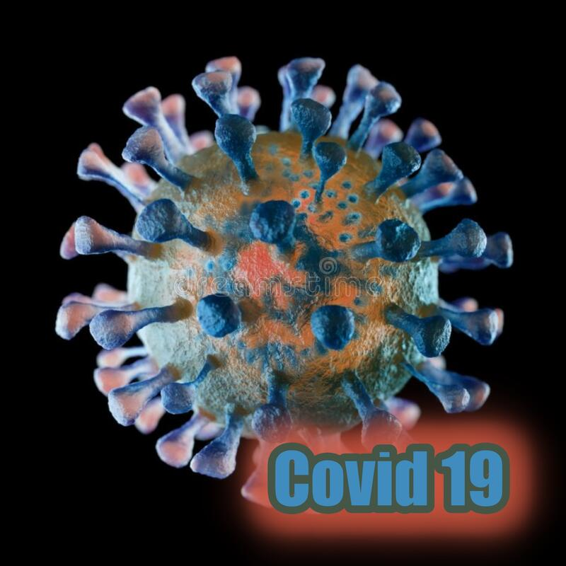 Covid-19. The name `coronavirus` is derived from Latin corona, meaning `crown` or `wreath`. Corona viruses cause respiratory tract infections that can be mild stock illustration