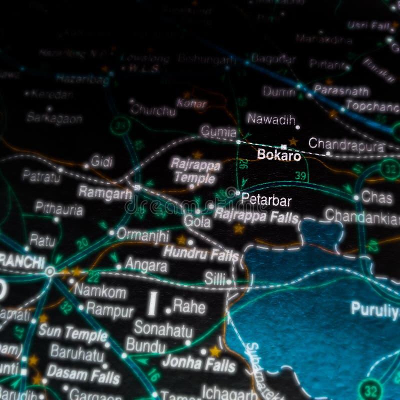 Name des Stahlwerks Bokaro auf der geografischen Karte in Indien stockfoto