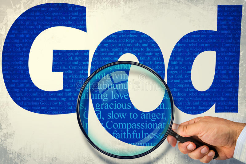 The name GOD under observation with magnifying glass. The name GOD observed with magnifying glass shows His characteristics: compassionate and gracious, slow to royalty free stock images