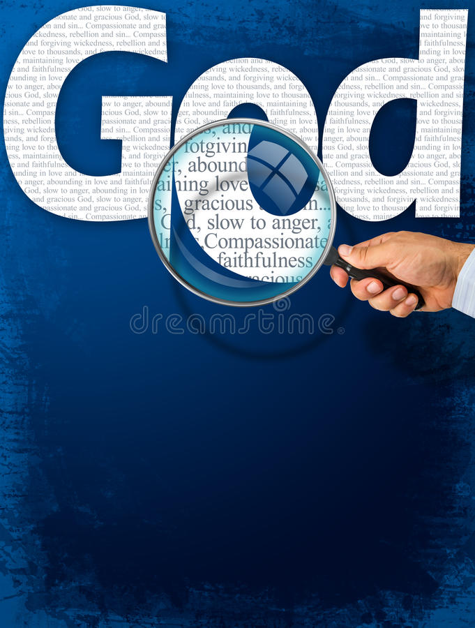 The name GOD under observation with magnifying glass. The name GOD observed with magnifying glass shows His characteristics: compassionate and gracious, slow to stock image
