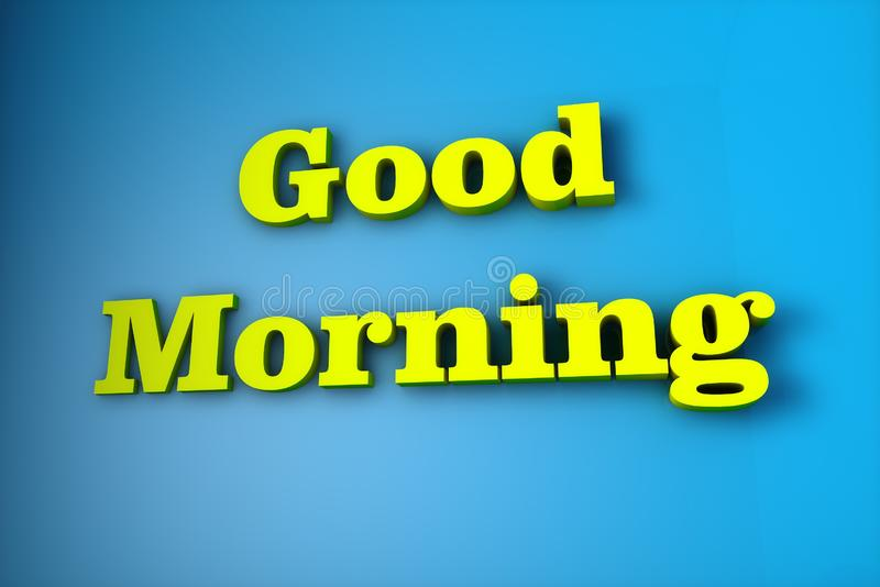 The name `good morning` written in 3d royalty free illustration