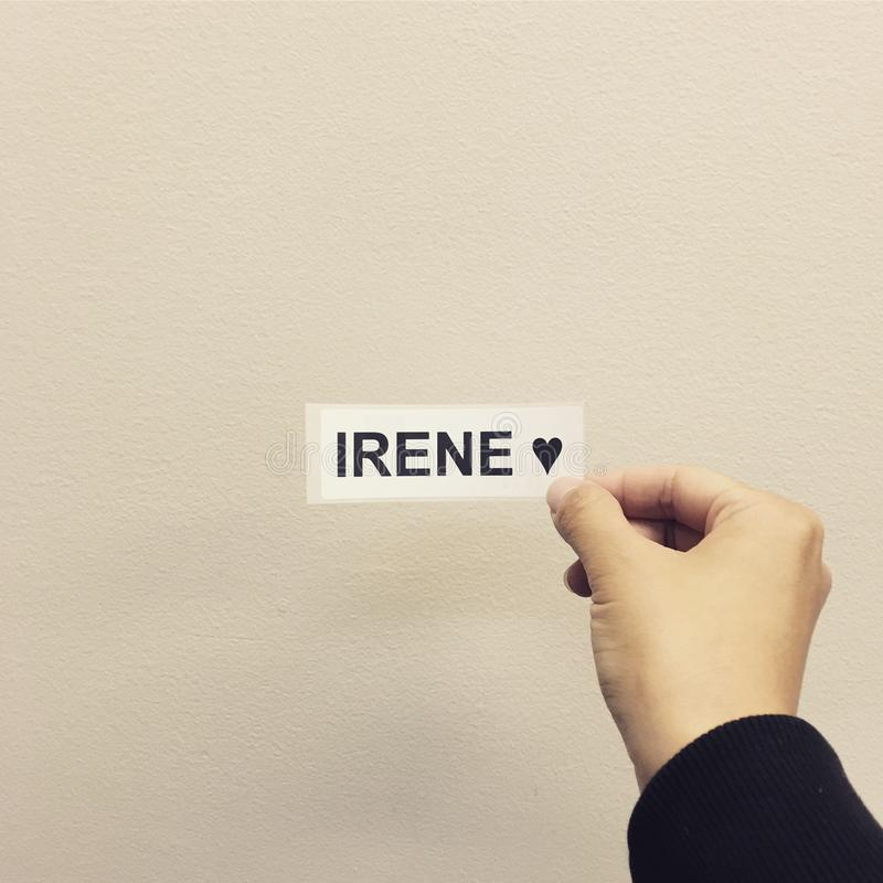 The name Irene. Girl's name irene meaning peace royalty free stock photo