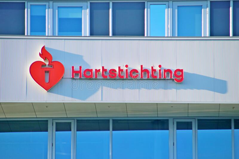 Name and logo of the heart disease awareness organisation Hartstichting in the Netherlands stock photography