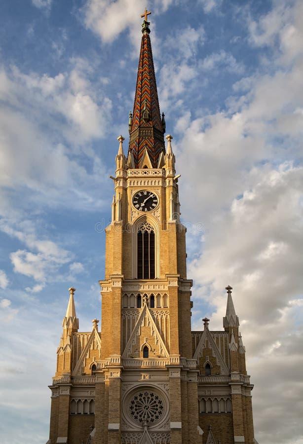 Name of Mary Church in Novi Sad. Serbia stock photo
