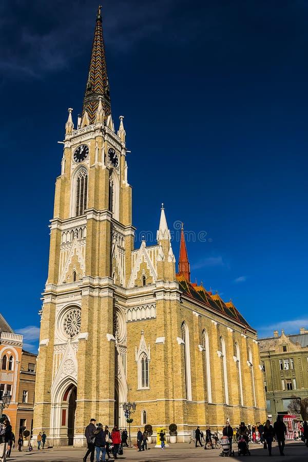 Name of Mary Church Novi Sad Serbia stock image