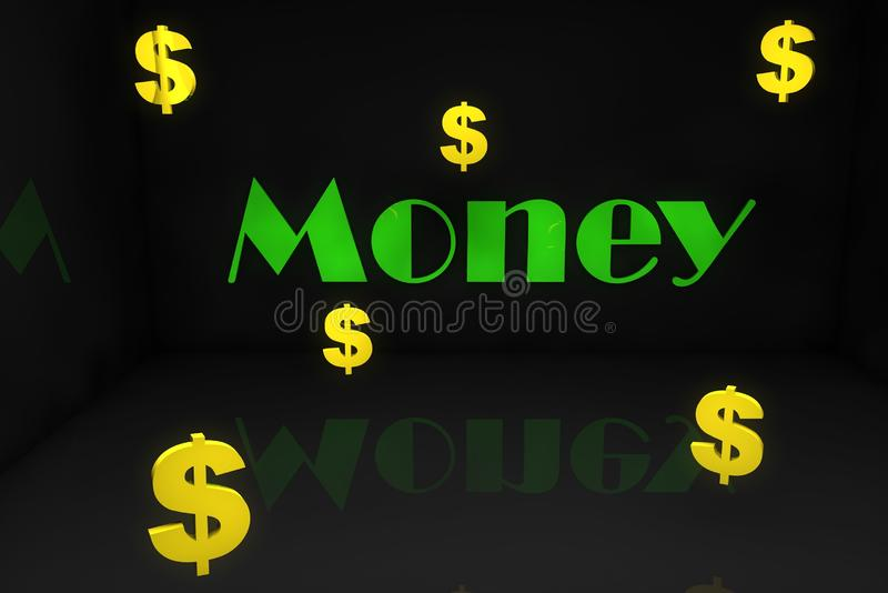 Name Money in 3 very cool vector illustration