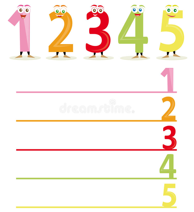 The name of the numbers, part 1. A funny number game for educational purposes: The child has to write down the name of the number with the right color royalty free illustration