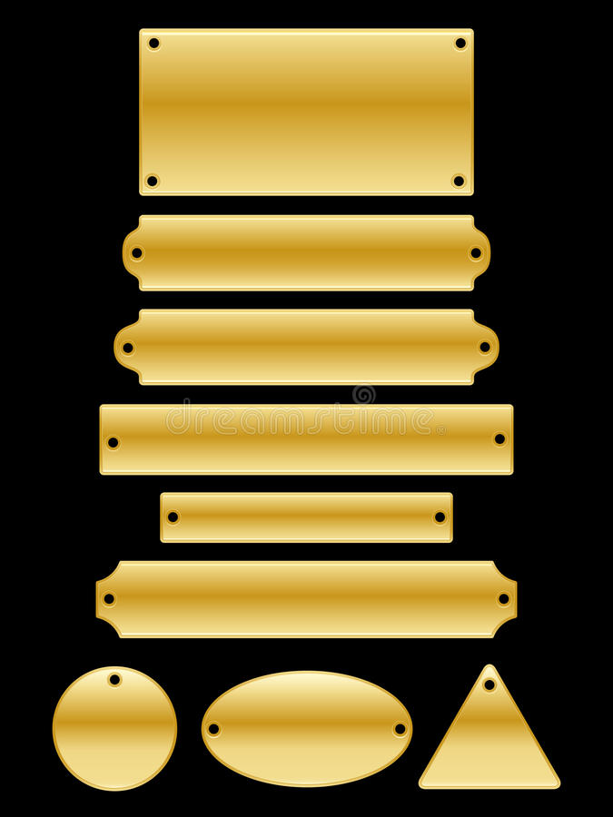Name Plates. A collection of glossy gold name plates in different shapes and sizes vector illustration