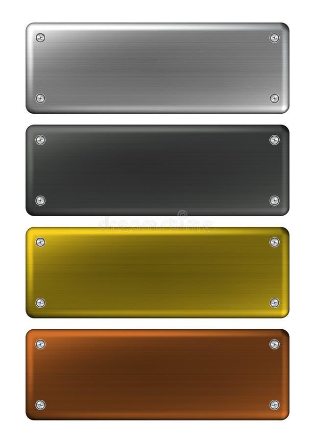 name plattor för metall royaltyfri illustrationer