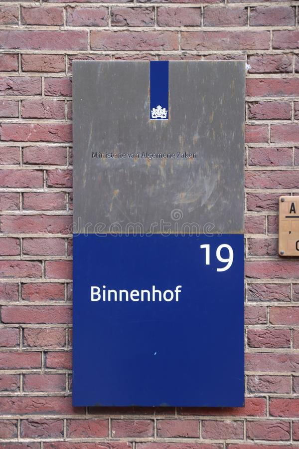 Name sign of the ministry of general affairs, the ministry of prime minister Rutte in the Netherlands. This is based in the ancient parliament buildings at the royalty free stock photo