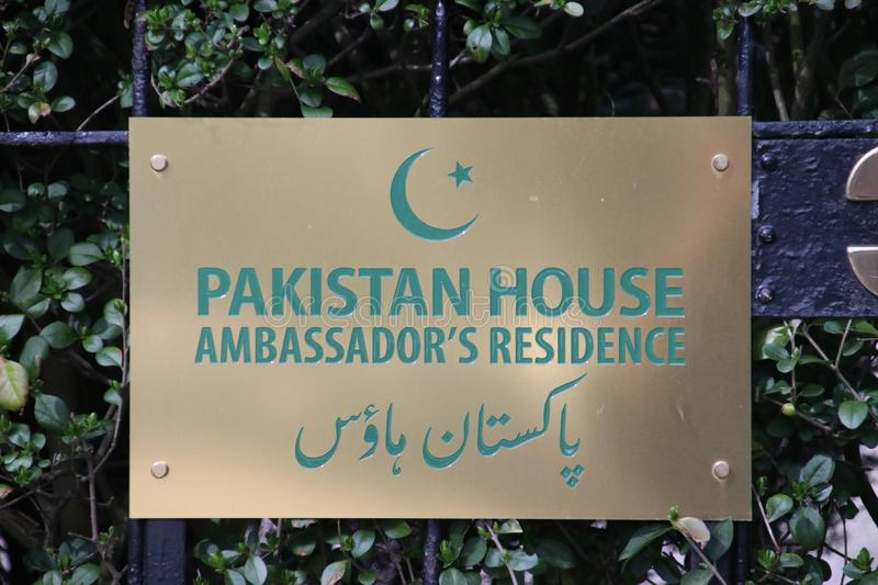 Name sign of the residence of the ambassador of the Pakistan in Den Haag royalty free stock photography