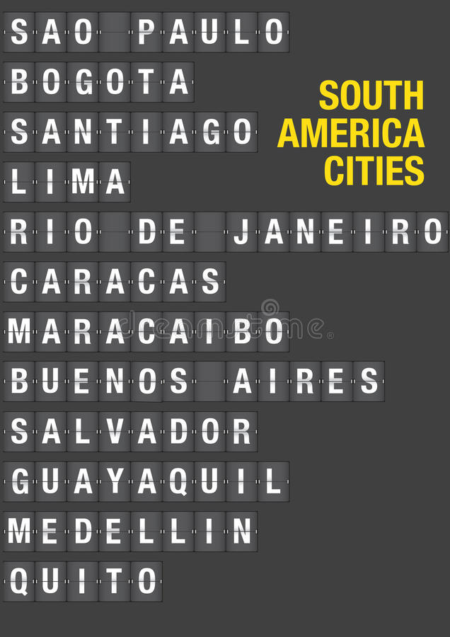 Name of South American Cities on Airport Flip Board. Style. Vector font design royalty free illustration