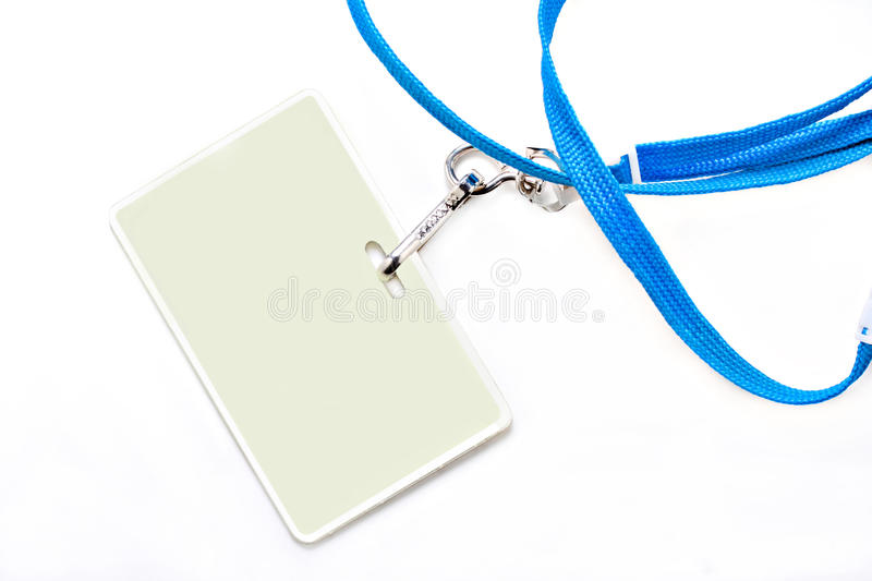 Name tag and blue lanyard on a white background. stock photo
