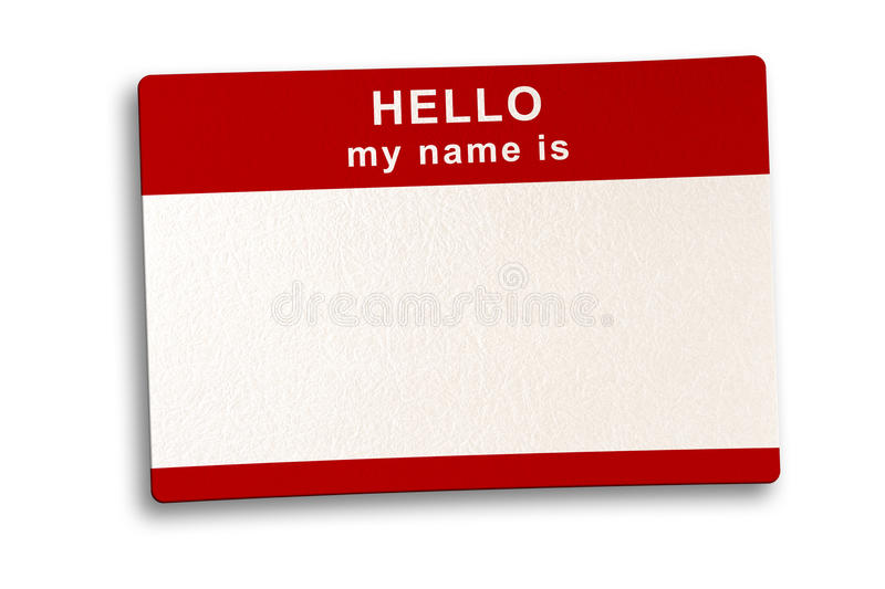 Name Tag with clipping Path stock photo