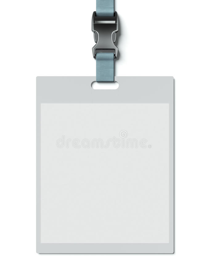 Name tag holder. Isolated on a white background. 3d render royalty free illustration