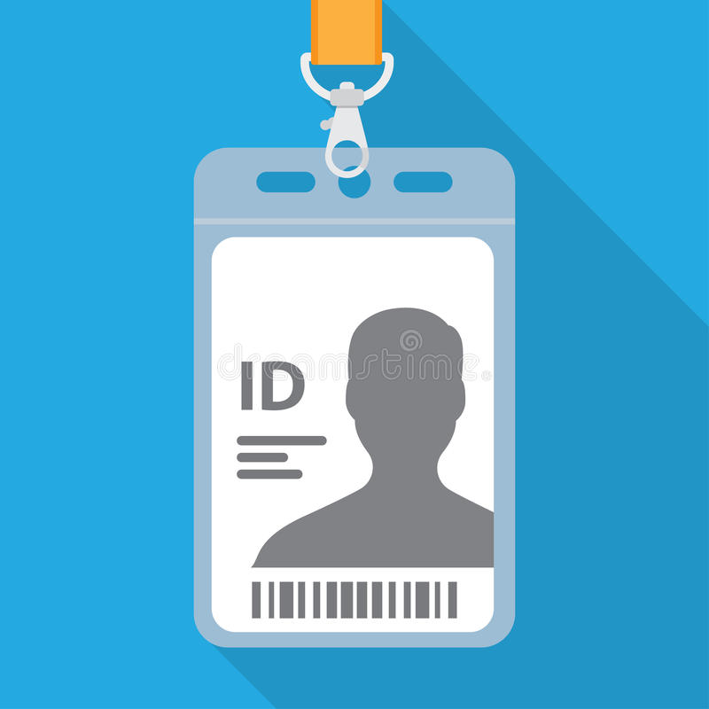 Name tag for ID. Flat design name tag badge template with shadow vector illustration
