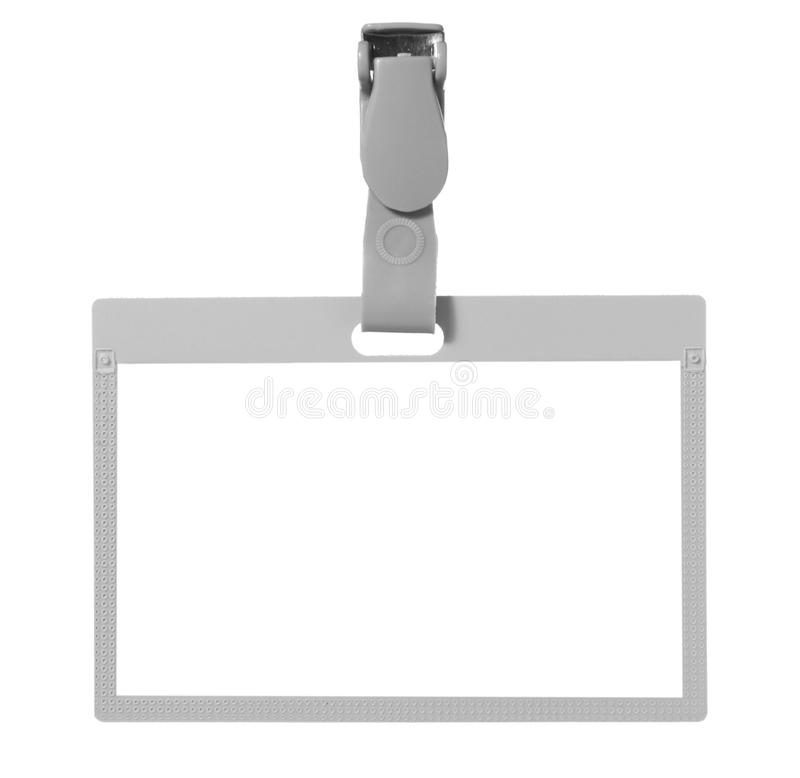 Name tag identity. Close up of name tag identity on white background with clipping path stock photos