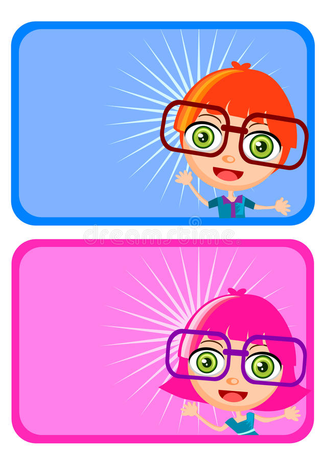 Name tag for kids. Cute boy girl cartoon vector for name tag and sticker vector illustration