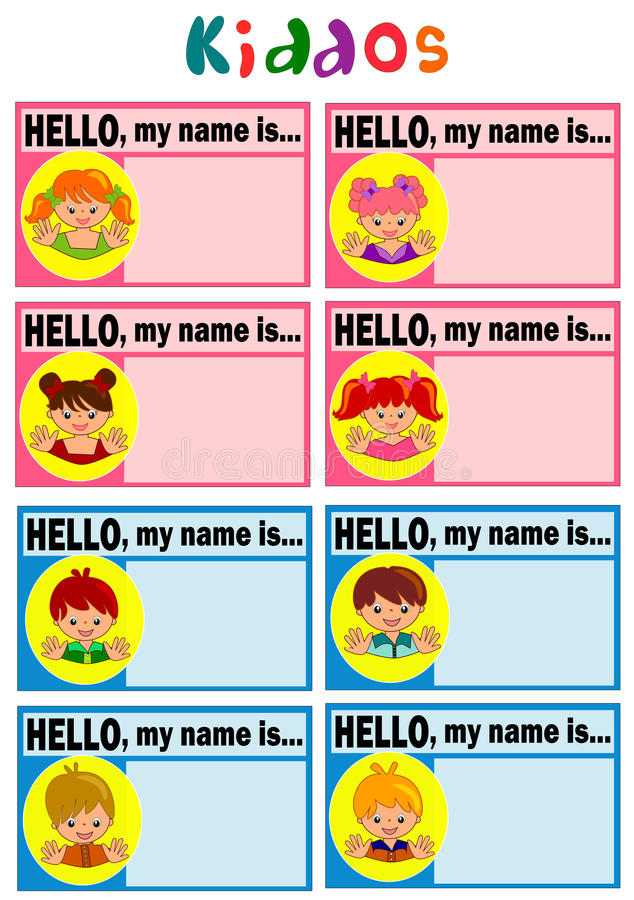 Name Tag for Kids. Happy face for name tag stock illustration