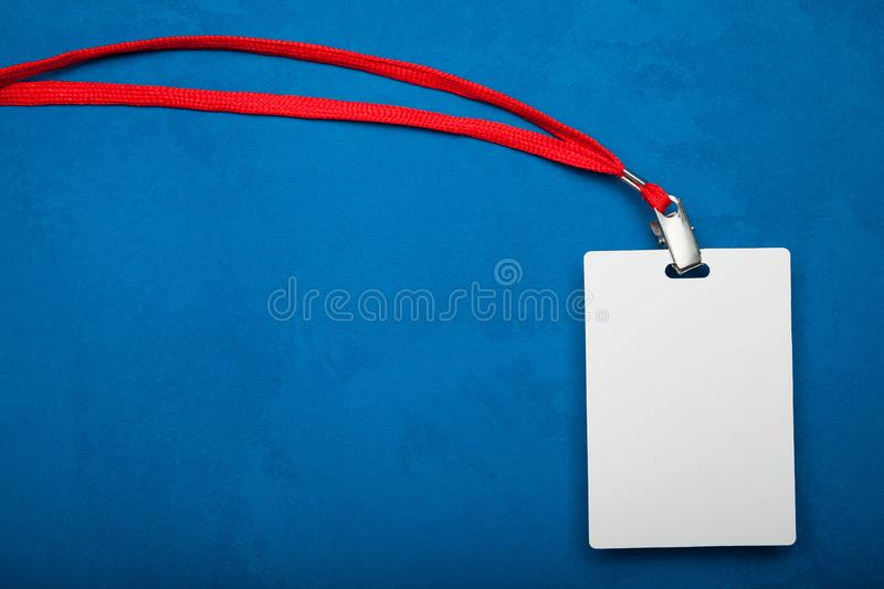 Name tag on neck, empty id card mockup. Copy space stock image