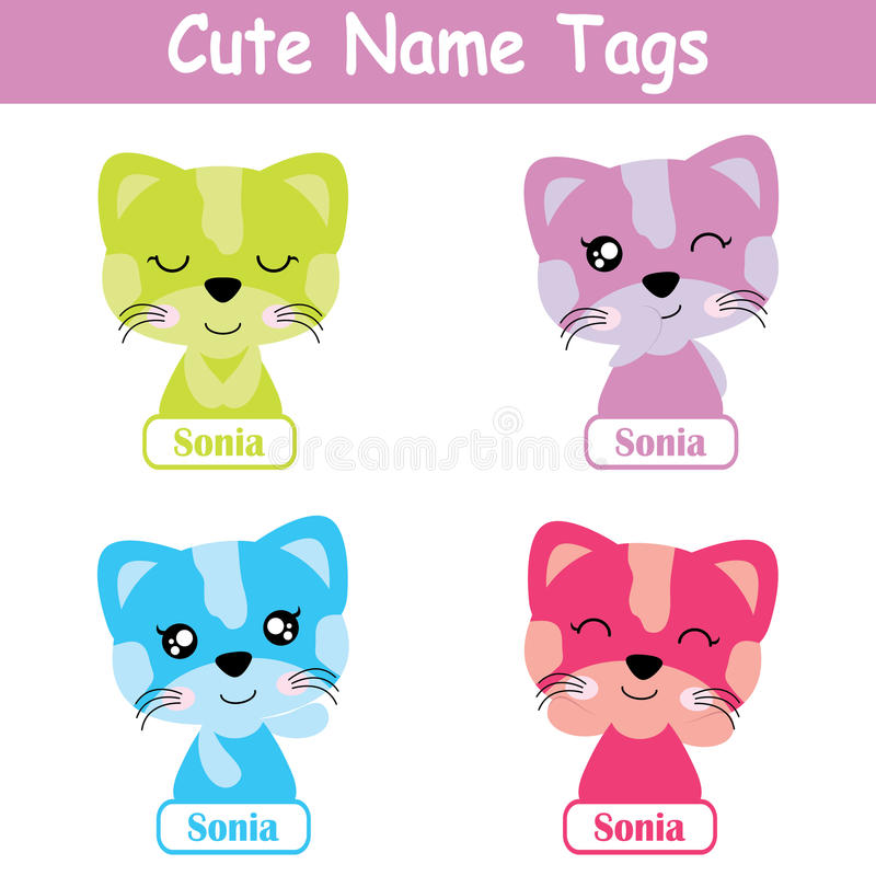Name tag Vector cartoon of colorful cute cat girl suitable for kid name tag set design stock illustration