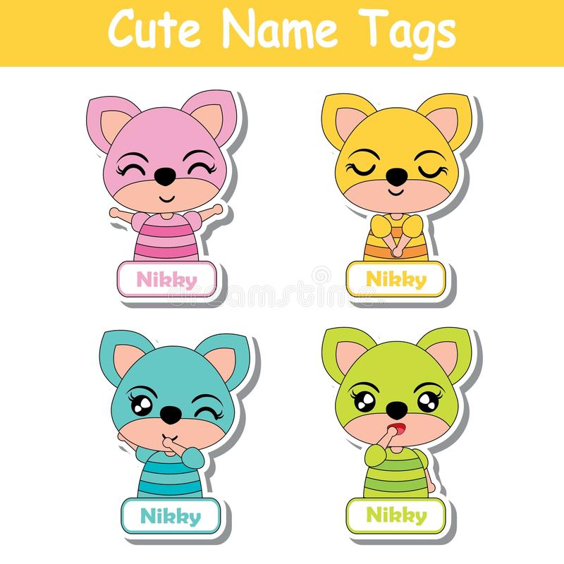 Name tag Vector cartoon of colorful cute fox girls suitable for kid name tag set design royalty free illustration