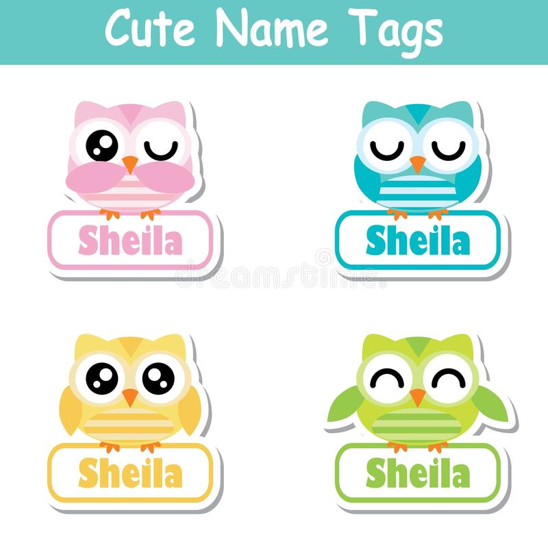 Download name tag vector cartoon of colorful cute owl birds suitable for kid name tag set