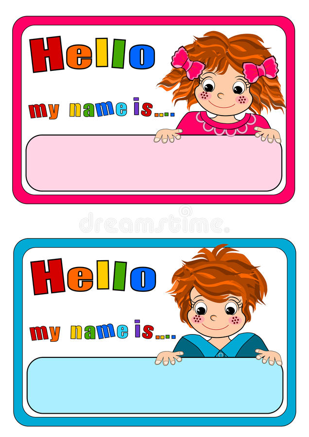 Name Tags for Kids stock illustration. Illustration of frame - 60711392