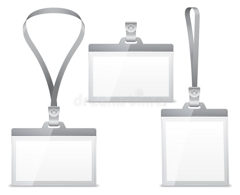 Name tags. Three blank name tags with lanyard holder stock illustration