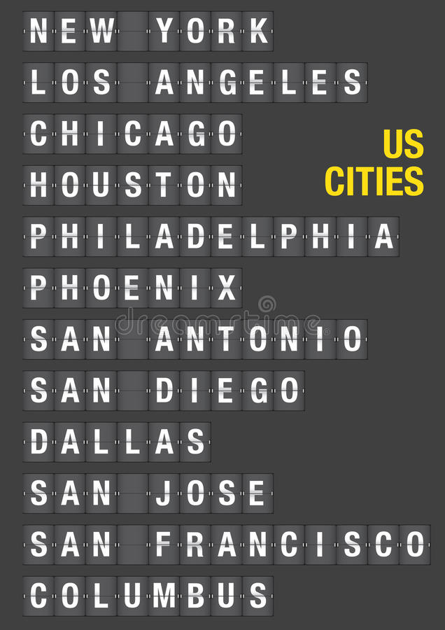 Name of US Cities on Airport Flip Board. Name of American Cities on airport flip board style. Vector font design stock illustration