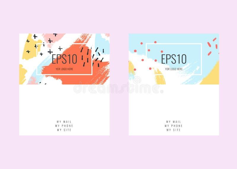 Namecard creativo del vector de la acción con los fondos geométricos abstractos de moda stock de ilustración