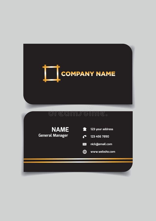 Namecard mall i svart med utrymme för namn och information om kontakt royaltyfri illustrationer