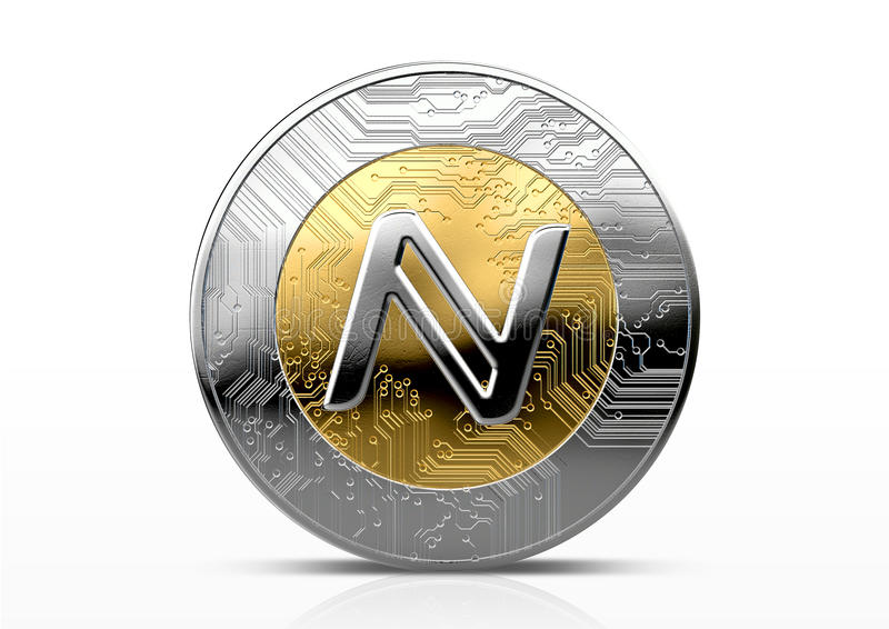 Cryptocurrency Physical Coin. A namecoin physical cryptocurrency in gold and silver coin form on a dark studio background- 3D render vector illustration