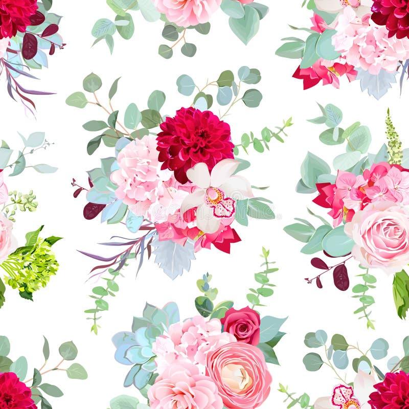 Namen de rode dahlia van Bourgondië, de roze en groene hydrangea hortensia, orchidee, Ra toe vector illustratie