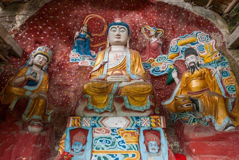 Namenloser Tempel geschnitzter Buddha lizenzfreies stockfoto
