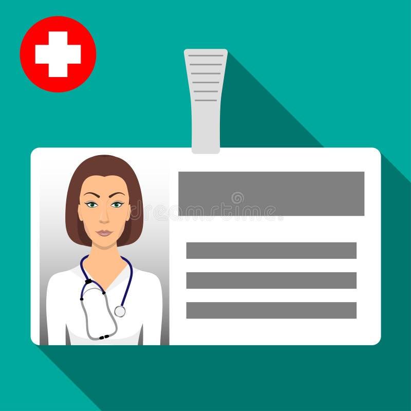 Namensschildausweis Doktors s Horizontaler Plastikausweis mit Verschluss Namenkartenikone der medizinischen Arbeitskraft s mit Sc lizenzfreie abbildung