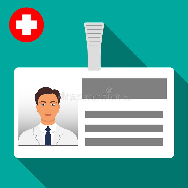 Namensschildausweis Doktors s Horizontaler Plastikausweis mit Verschluss Namenkartenikone der medizinischen Arbeitskraft s mit Sc vektor abbildung