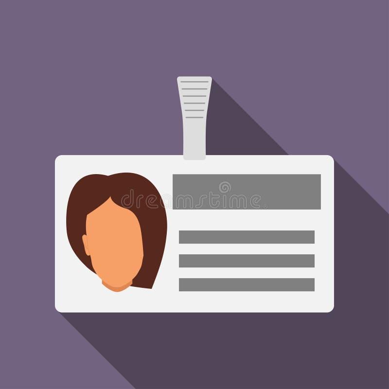 Namensschildausweis mit Kopfschattenbild der Frau s Horizontaler Plastikausweis mit Verschluss Namenkartenikone mit Schatten Auch lizenzfreie abbildung