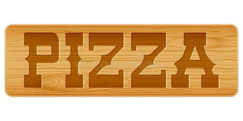 Nameplate древесины для меню с пиццей слова бесплатная иллюстрация