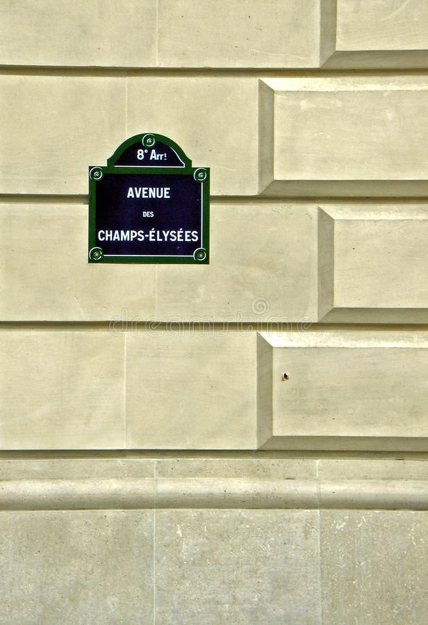 Nameplate Champs Elysees royalty free stock photo