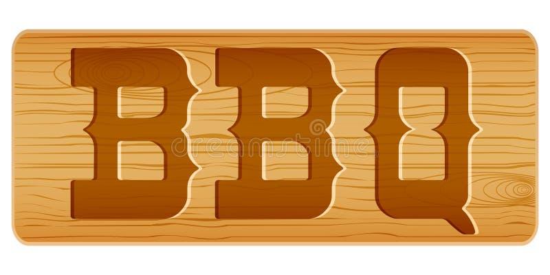 Nameplate drewno dla menu z słowem BBQ ilustracja wektor
