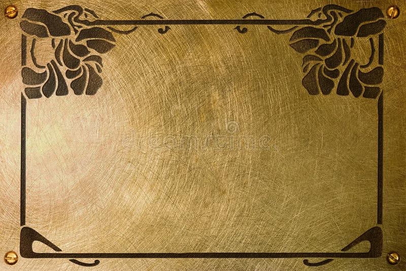 Nameplate with liberty style frame. A brass plate with an etched liberty style frame for a nameplate royalty free stock photography