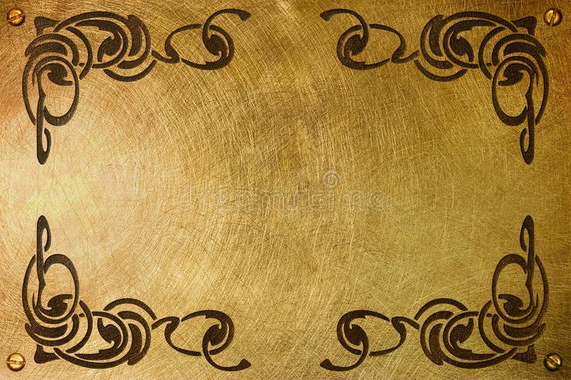 Nameplate with liberty style frame. A brass plate with an etched liberty style frame for a nameplate royalty free stock image