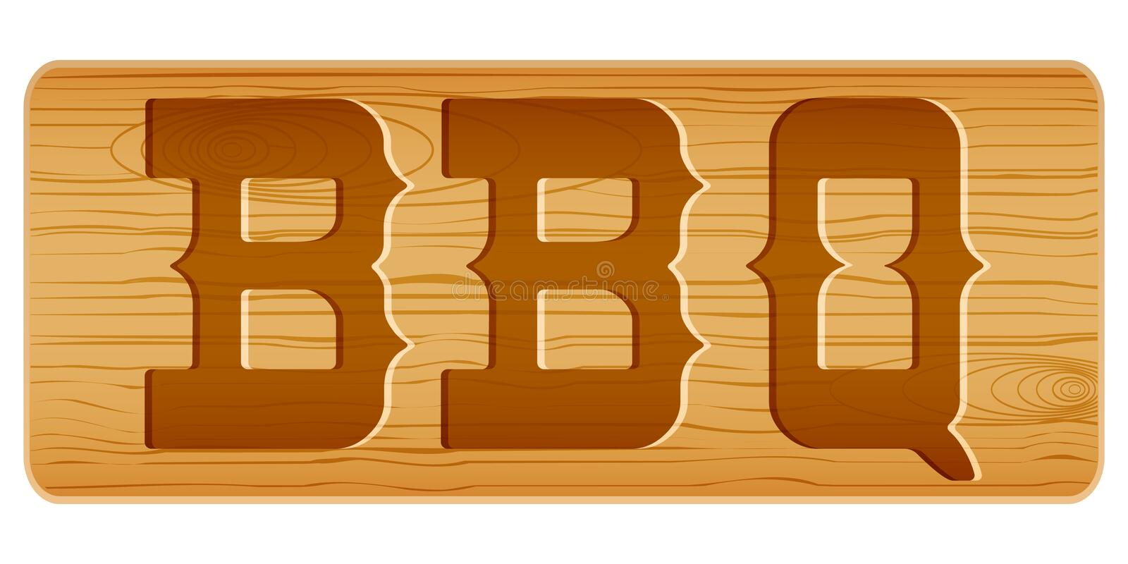Nameplate Of Wood For Menu With Word BBQ. Stock Vector ...